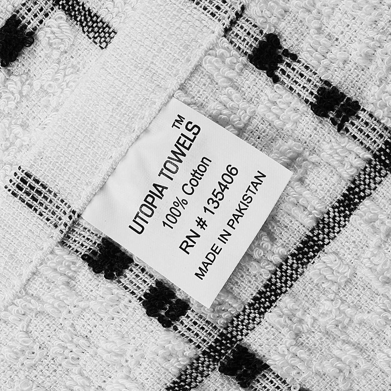 Utopia Towels - Toallas de cocina (12 Paquetes, 38 x 64 Centímetros) Lavable a máquina de algodón puro 6 Paños de cocina Dobby negros y 6 blancos, ...