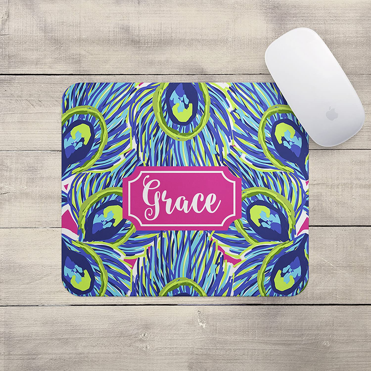 Blue Green Daisies Custom Personalize Gift MousePadbirthday memory foam for office laptop wrist space extended apple corsair pad her decor and desk-s table gifts on add keyb Personalized Mouse Pad