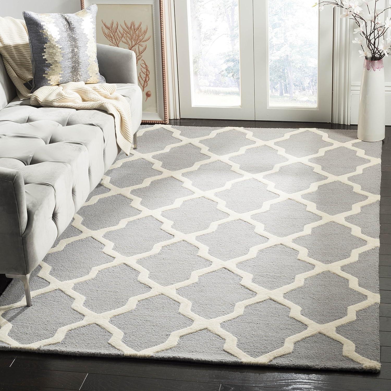 Safavieh Ava handgetufteter Teppich, CAM121D, Silber   Elfenbein, 152 X 243  cm