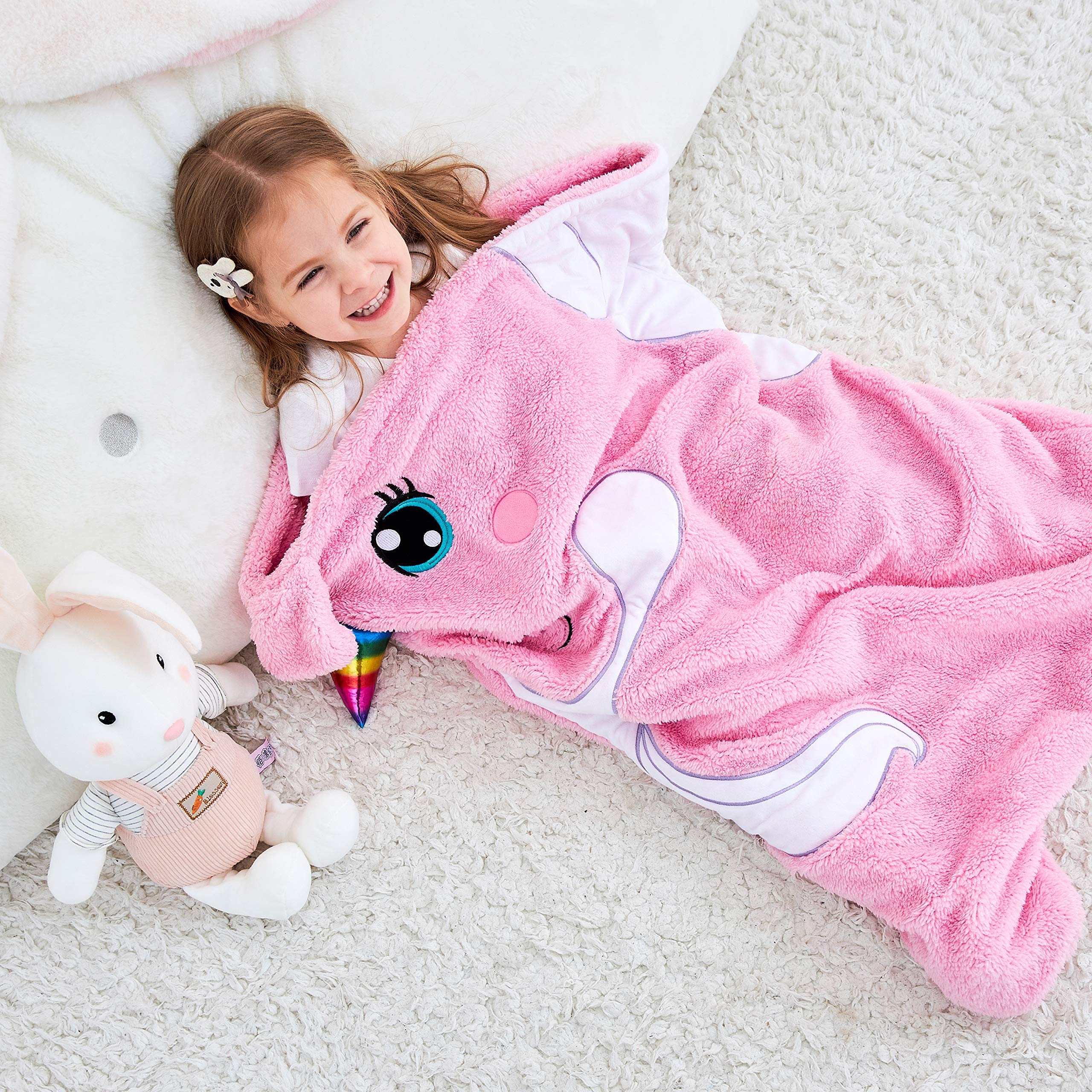SINOGEM Unicorn Blanket for Kids Animal Sleeping Bag Gifts for Girls Cute Throw Blanket for Bed Couch Travel Sleepovers Outdoor Animal Plush Toy 27 Inch by 36 Inch Pink by SINOGEM