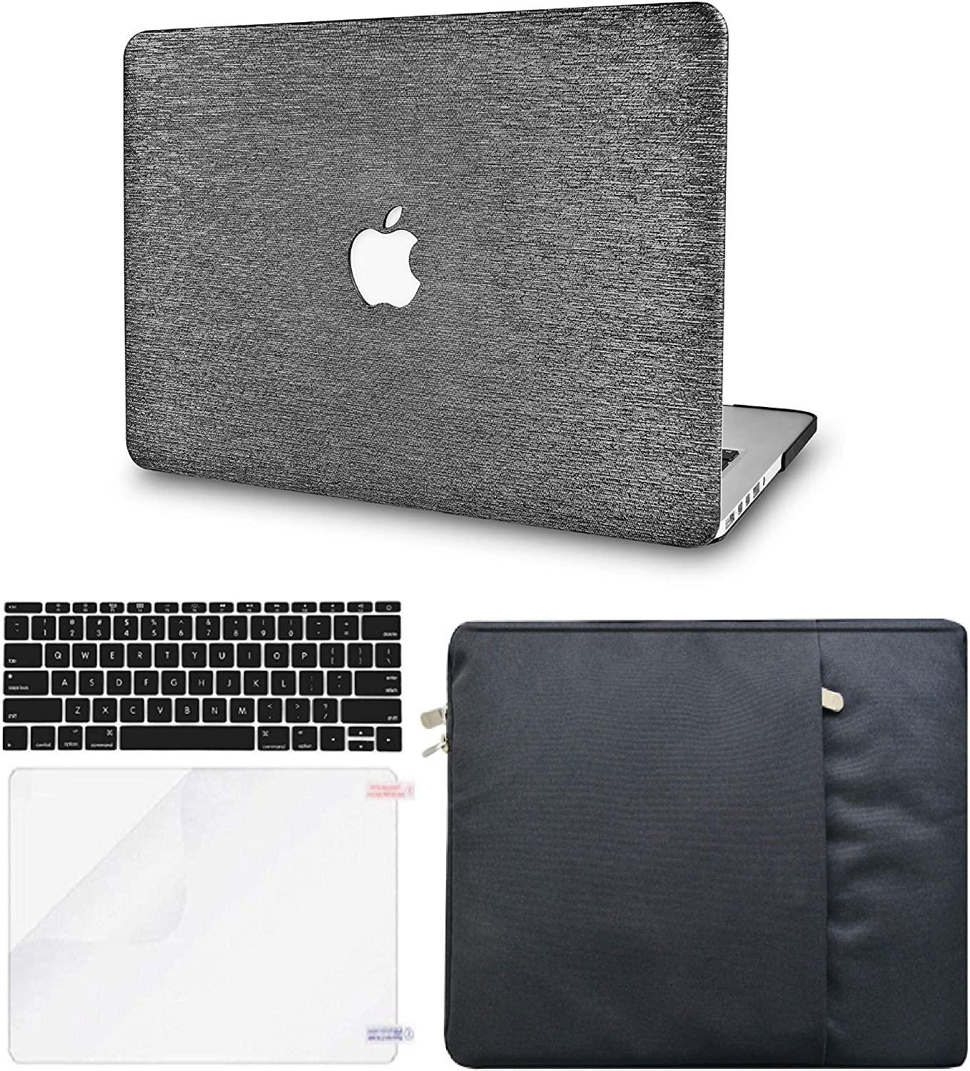 LuvCase 4 in 1 LaptopCase for MacBook Air 13 Inch(Touch ID)(2020) A2179 Retina Display HardShellCover, Sleeve, Keyboard Cover & Screen Protector (Silver Grey Leather)