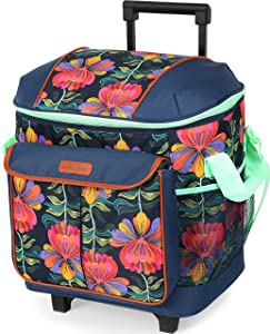 Arctic Zone 44-81452-00-08 Hot/Cold Insulated Rolling Tote, 44 Can Capacity, Cabanan Blossom - Blue