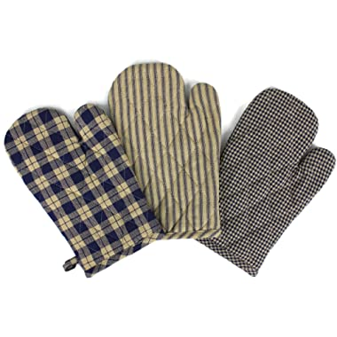 Rustic Covenant Woven Cotton Farmhouse Oven Mitts, Set of 3, 7 inches x 10.5 inches, Navy Blue/Natural Tan