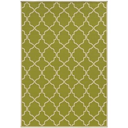 Amazon.com: Oriental Weavers Lime Green Indoor Outdoor Rug Patterned ...