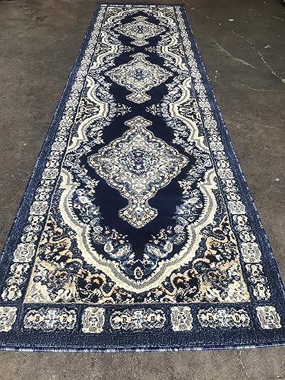 Traditional Persian Long Runner Rug Dark Blue Design 520 31 Inch X 15 Feet 8
