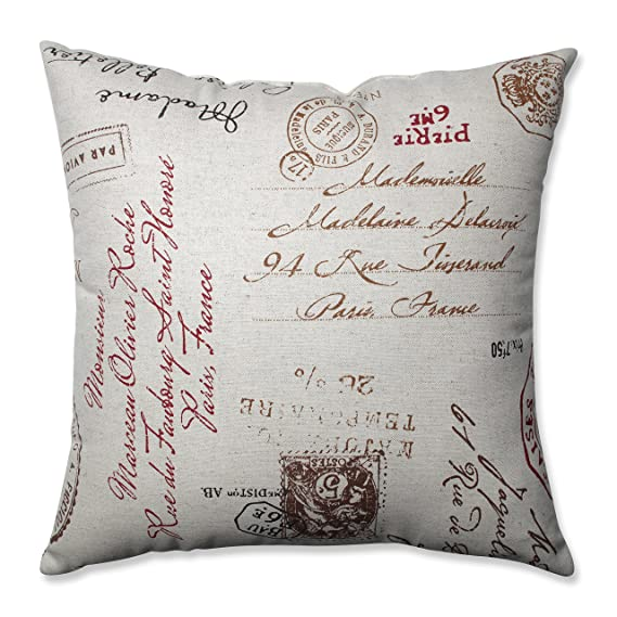 Fantastic Amazon.com: Pillow Perfect Linen/Red French Postale 18-Inch Throw  RU05