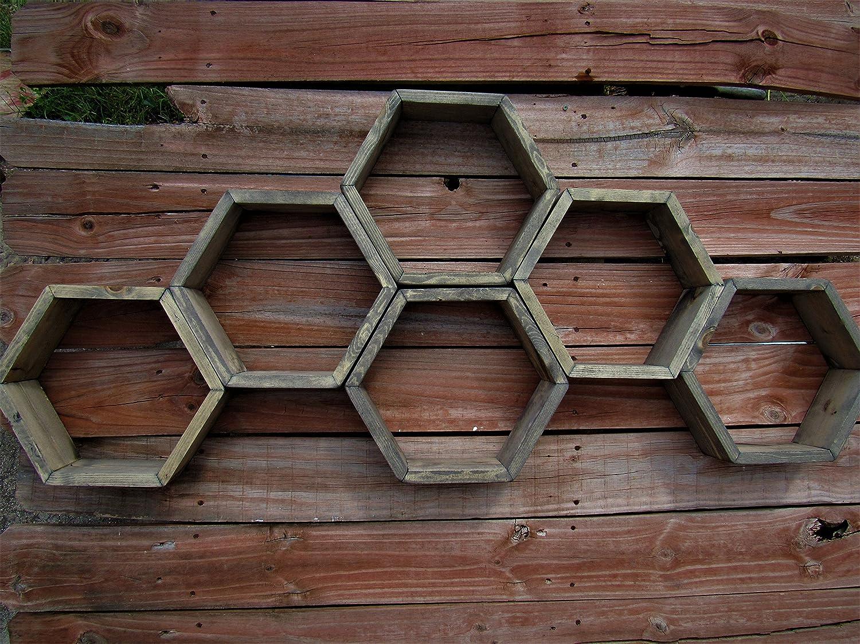 STURDY PINE Honeycomb shelves, Hexagon Shelves, Distressed Shelves, Geometric Shelves, midcentury Shelves, Hexagon shelf, Floating Shelf, Floating Shelves, Handmade in Texas