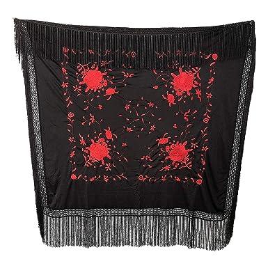 3acec04430e0 La Señorita Foulard Ceinture Chale De Danse Flamenco Broderie Frange noir  rouge Carré