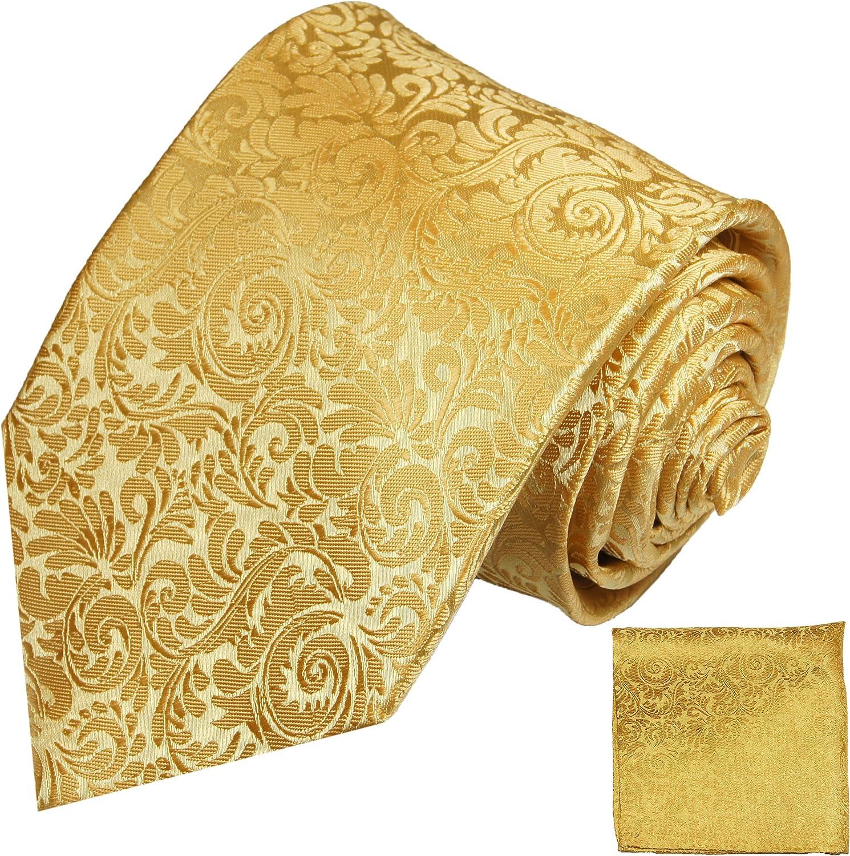 P.M. Krawatten Paul Malone Corbata de seda oro barroco + pañuelo ...