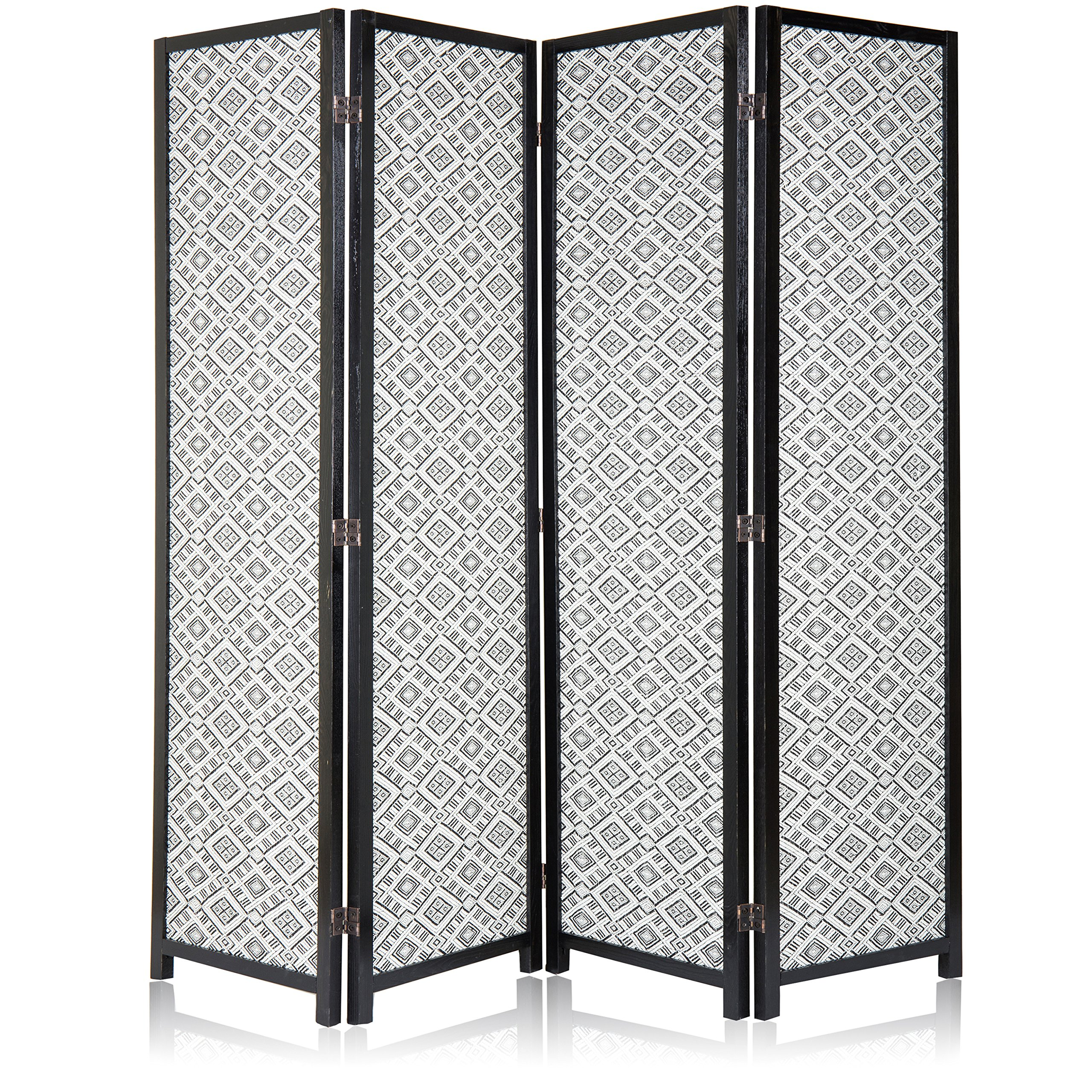 MyGift Moroccan-Style Woven Pattern 4-Panel Wood Framed Room Divider with Dual-Action Hinges