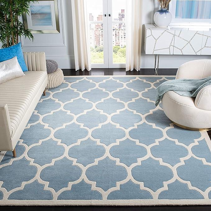 Amazon Com Safavieh Chatham Collection Cht733b Handmade Geometric Premium Wool Area Rug 8 X 10 Blue Ivory Furniture Decor