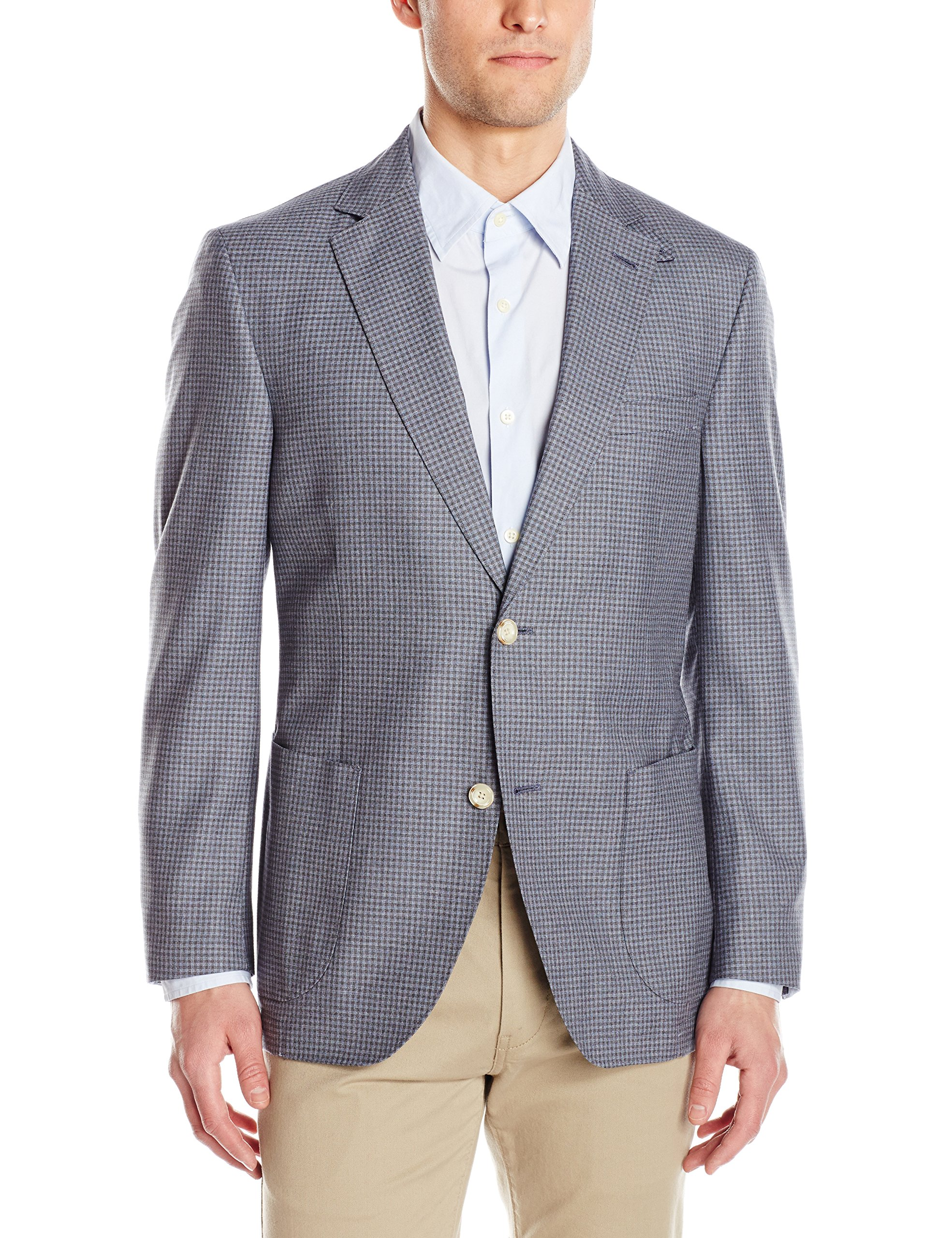 Kroon Men's Bono 2 Fancy Silk and Wool Italian Fabric, Grey, 38 Regular