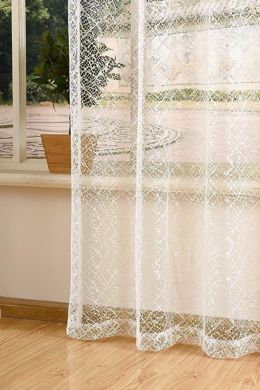 72fb006ea44da5 Amazon.de: Gardinenbox Gardine Netz Struktur mit Ösen einfarbig transparent  Deko Vorhang Netzvorhang