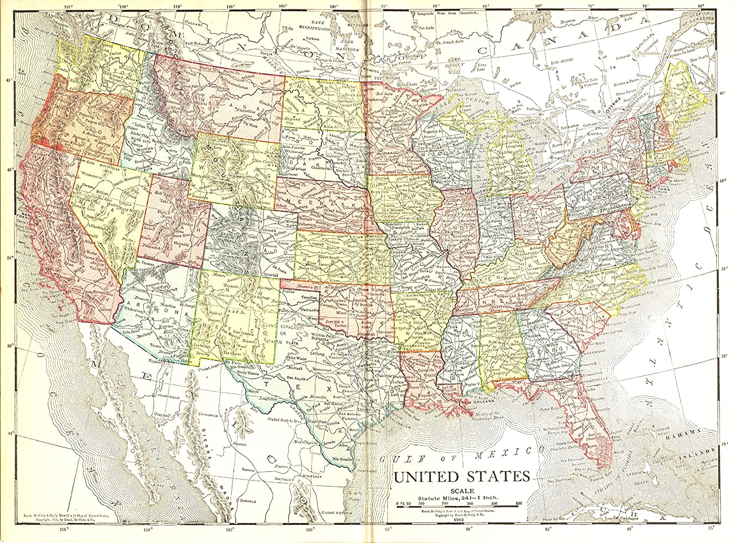 Map 1914.Vintage Map Of The U S 1914 33 X 44 Peel Stick Removable