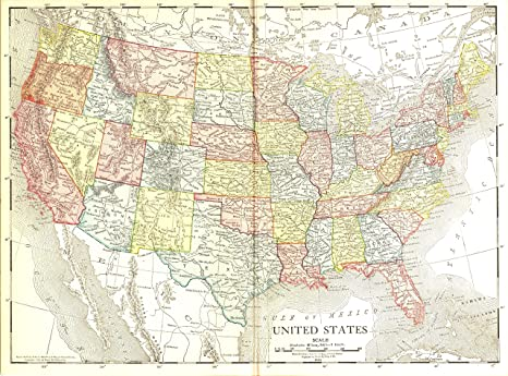 Vintage Map of the U.S., 1914 - 33