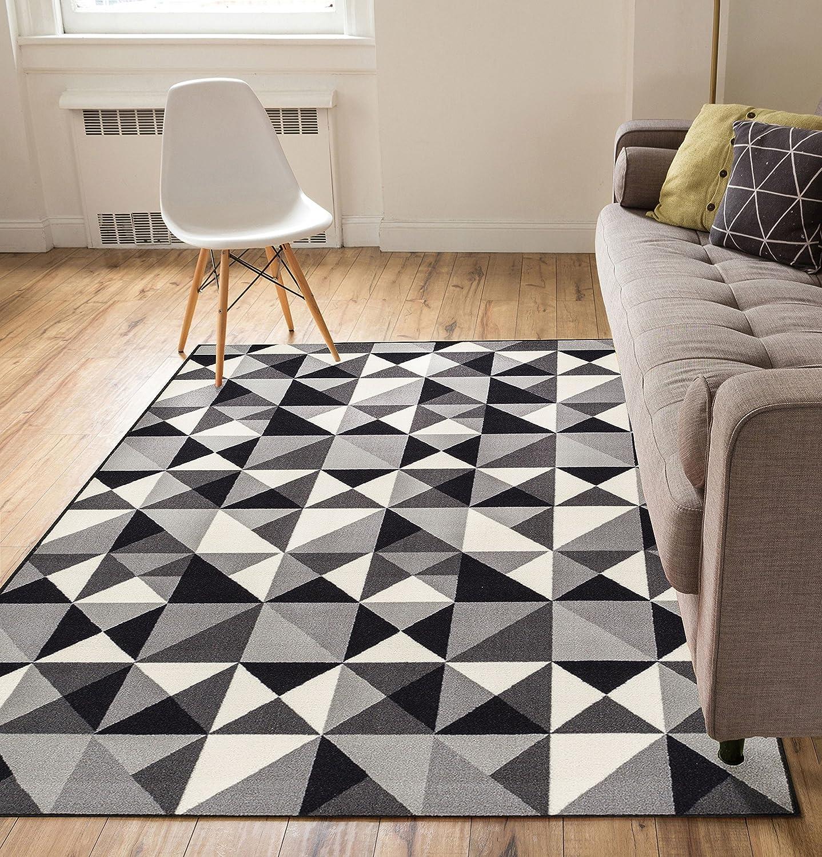 Black White & Grey Area rug Runner Geometric Triangle ...