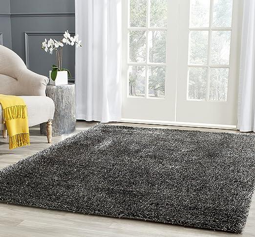 Amazon Com Safavieh Charlotte Shag Collection Sgc720c 2 Inch Thick Area Rug 4 X 6 Charcoal Furniture Decor
