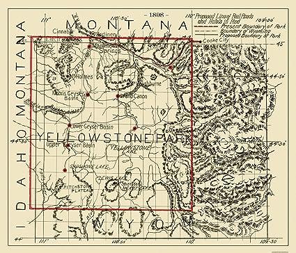 Amazon Com Old City Map Yellowstone National Park 1898