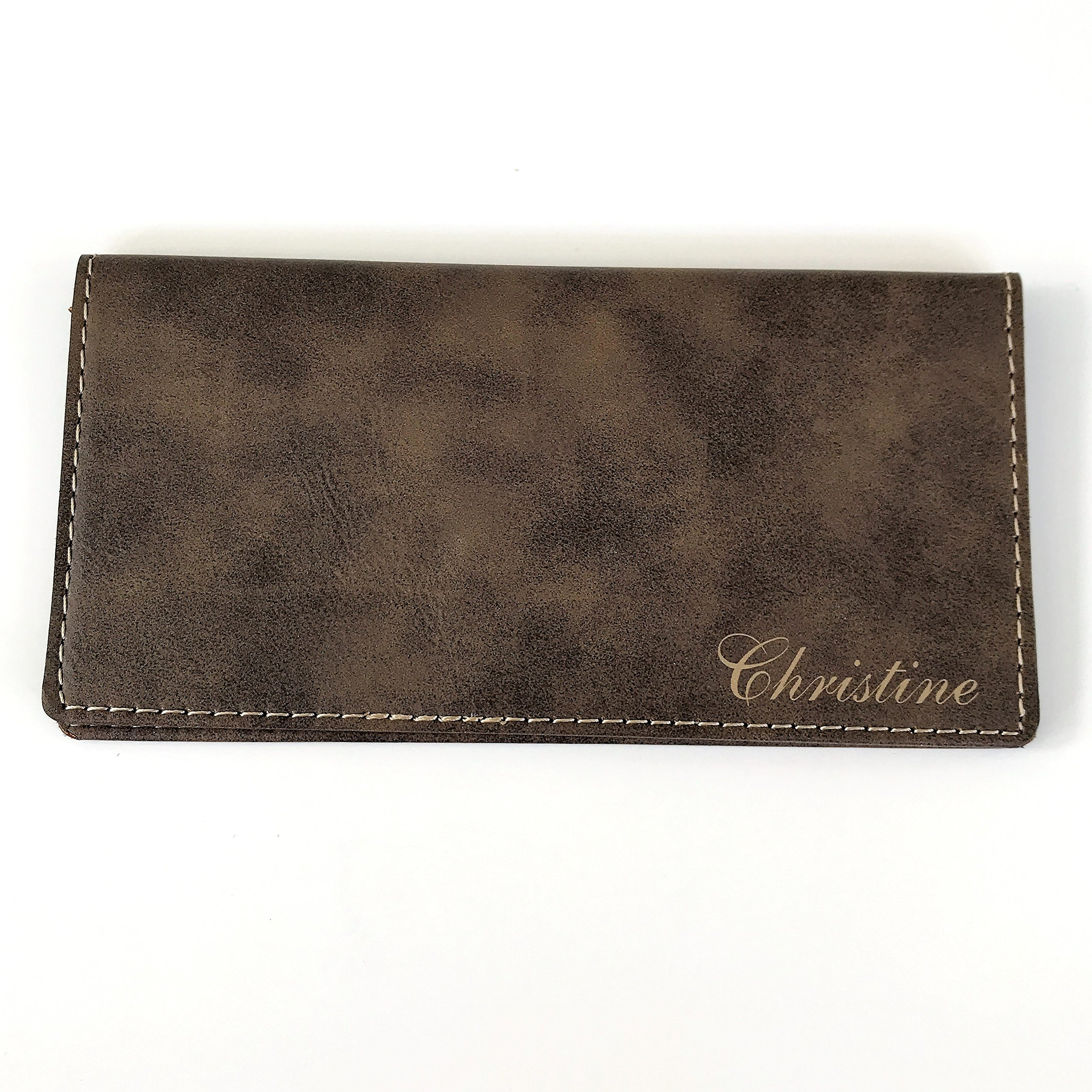 Personalized Checkbook Cover Faux Leather Permanently Engraved (Brown)