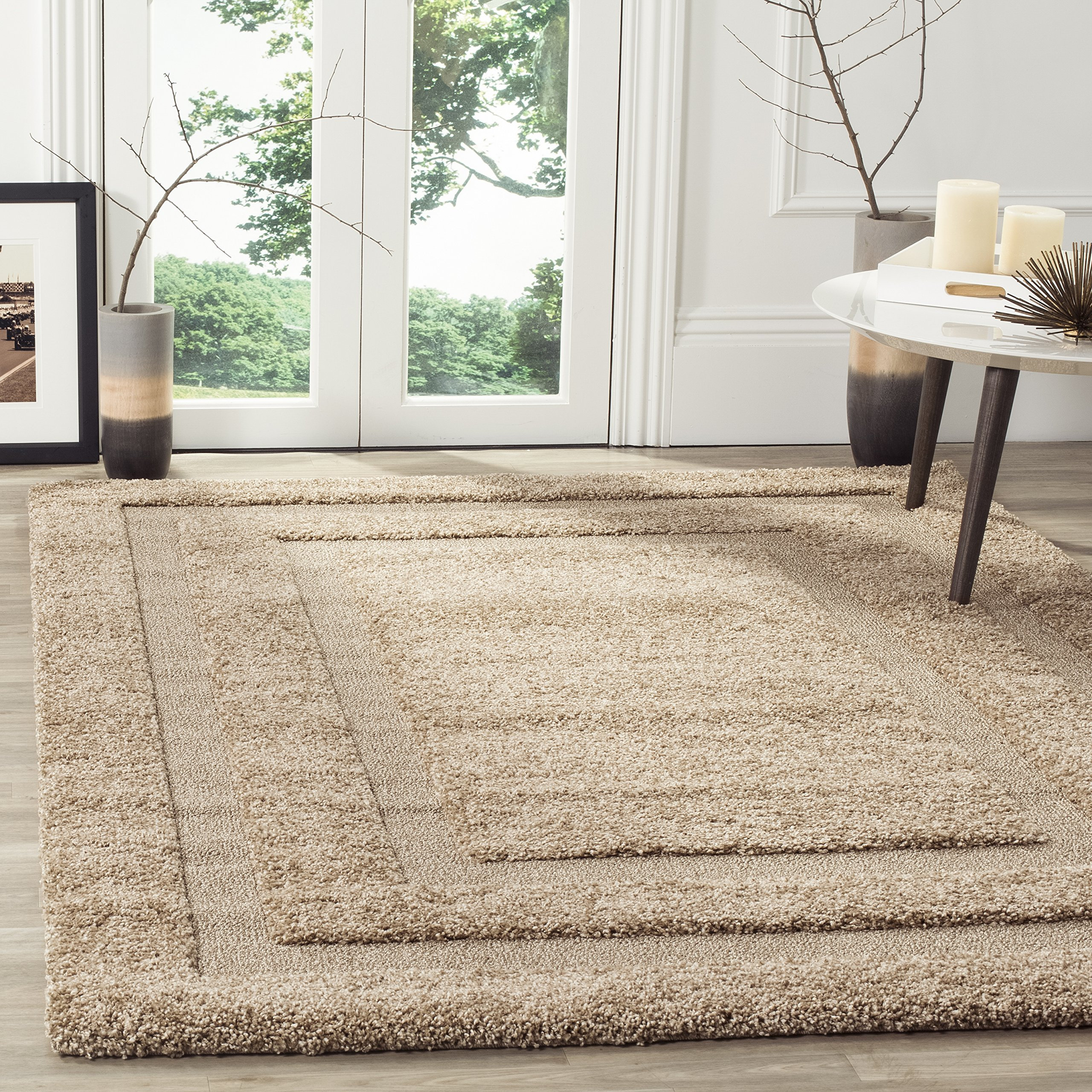 Safavieh Shadow Box Shag Collection SG454-1313 Beige Area Rug (5'3'' x 7'6'') by Safavieh