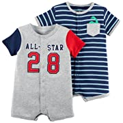 Carter's Baby Boys' 2-Pack Snap Up Romper, Allstar/Blue Stripe, 12 Months