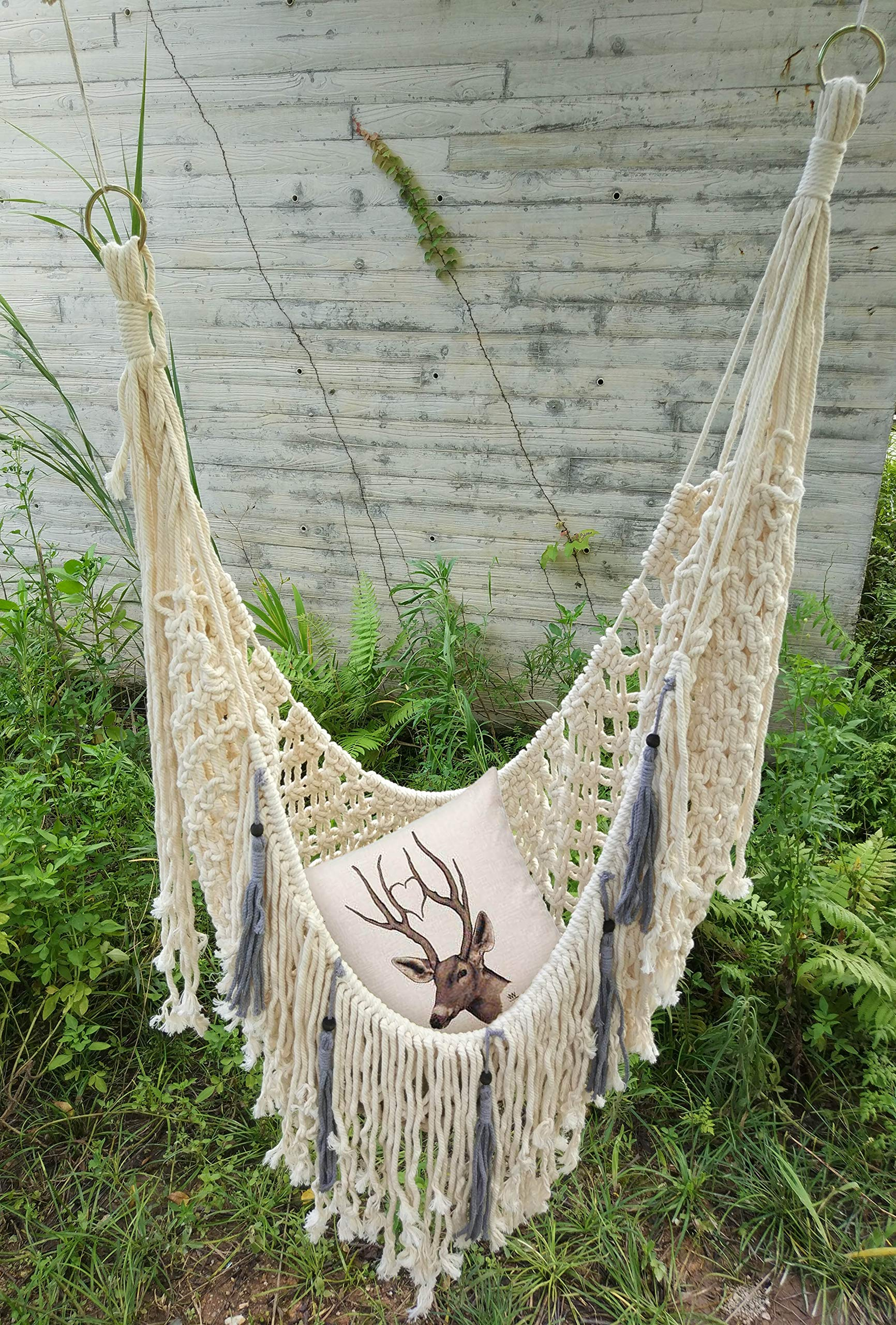 RISEON Handmade Boho Large Macrame Fringe Hammock Chair Macrame Net Swing, Hanging Chair Swing for Beach, Yard, Bedroom, Patio, Porch, Indoor, Outdoor, Wedding Decor