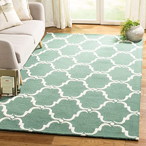Safavieh Cambridge Collection CAM703T Handcrafted Moroccan Geometric Teal and Ivory Premium Wool Area Rug 9 x 12