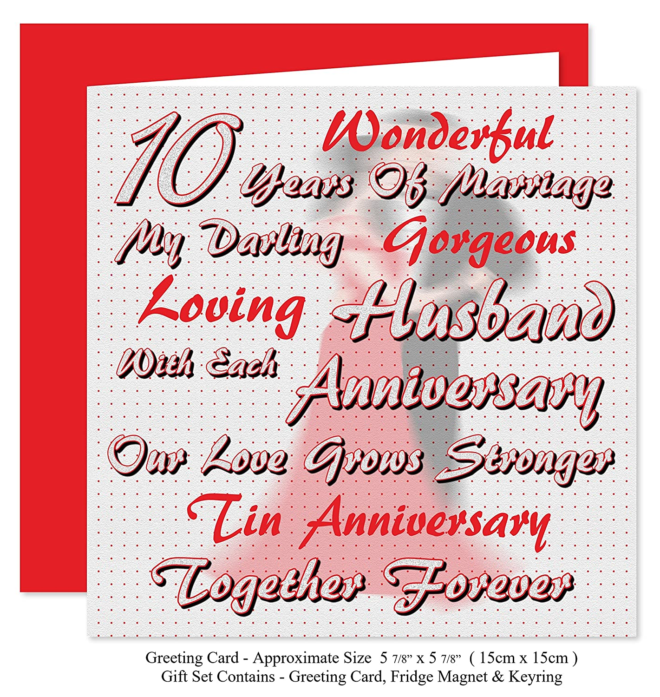 My Husband 10th Wedding Anniversary Gift Set - Card, Keyring ...