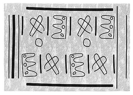 Gris//Negro Rugs/&Rugs Amarha Alfombra Decorativa de Algod/ón En Estampaci/ón Digital 120 X 170 cm