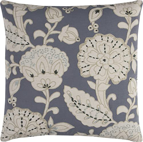 Rizzy Home T11377 Decorative Pillow, 20 X20 , Slate Grey