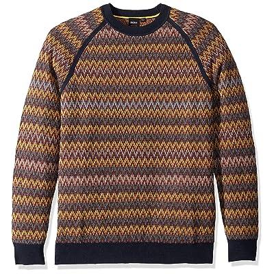 BOSS Orange Men's Kelsadrat Multicolor Zig Zag Sweater: Clothing