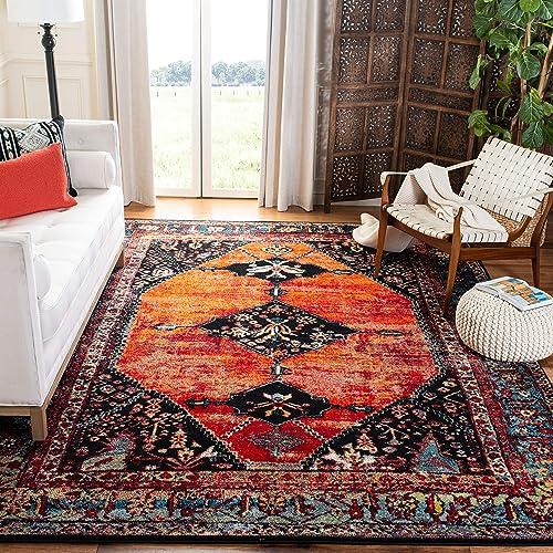 Safavieh Vintage Hamadan Collection VTH217B Oriental Antiqued Orange and Multi Area Rug 8 x 10