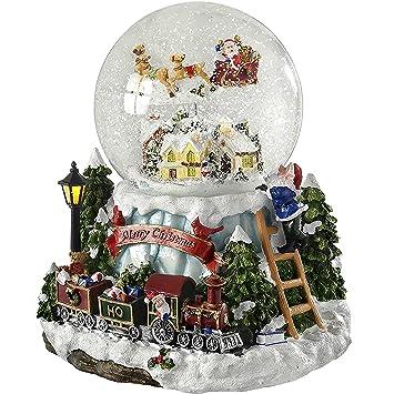 Werchristmas Decoration De Noel Boule A Neige Musicale Avec Village