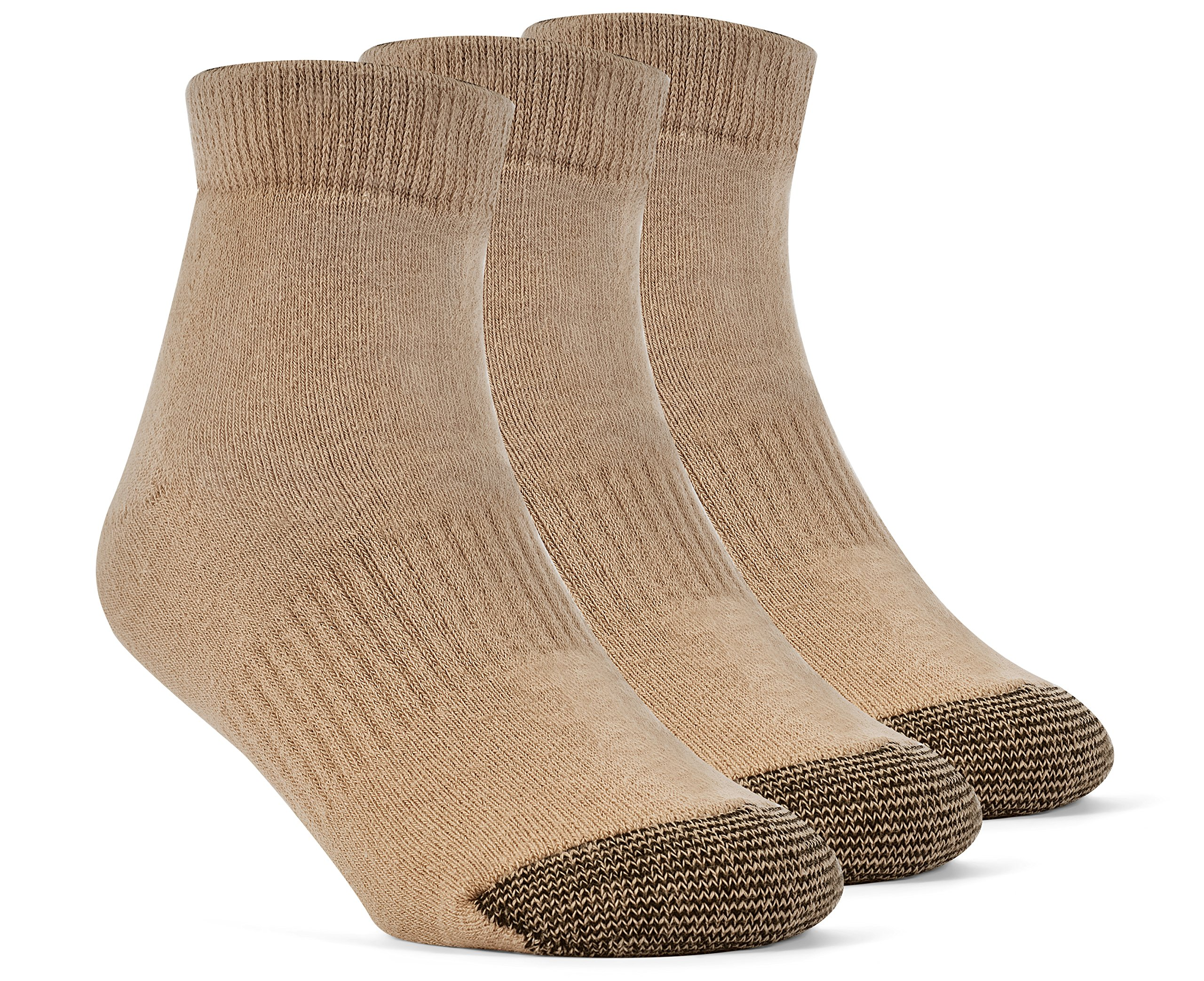 YolBer Boys' Cotton Super Soft Ankle Cushion Socks - 3 Pairs, Large, Nude Beige by YolBer