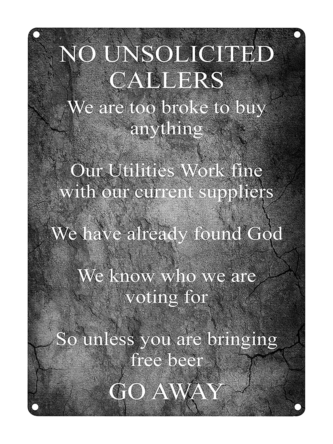 "NO UNSOLICITED CALLERS Funny Front Door Metal Aluminium Sign Plaque House Gift by MegSub (5x7"", Rounded Corners) Door signs"