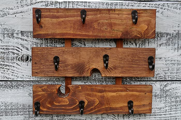 Rustic Wood Coffee Cup Rack Mug Holder Wall Mounted Kitchen Storage