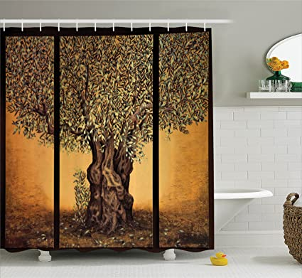 Ambesonne Tree Of Life Decor Shower Curtain Set Triptych An Old Mature Olive