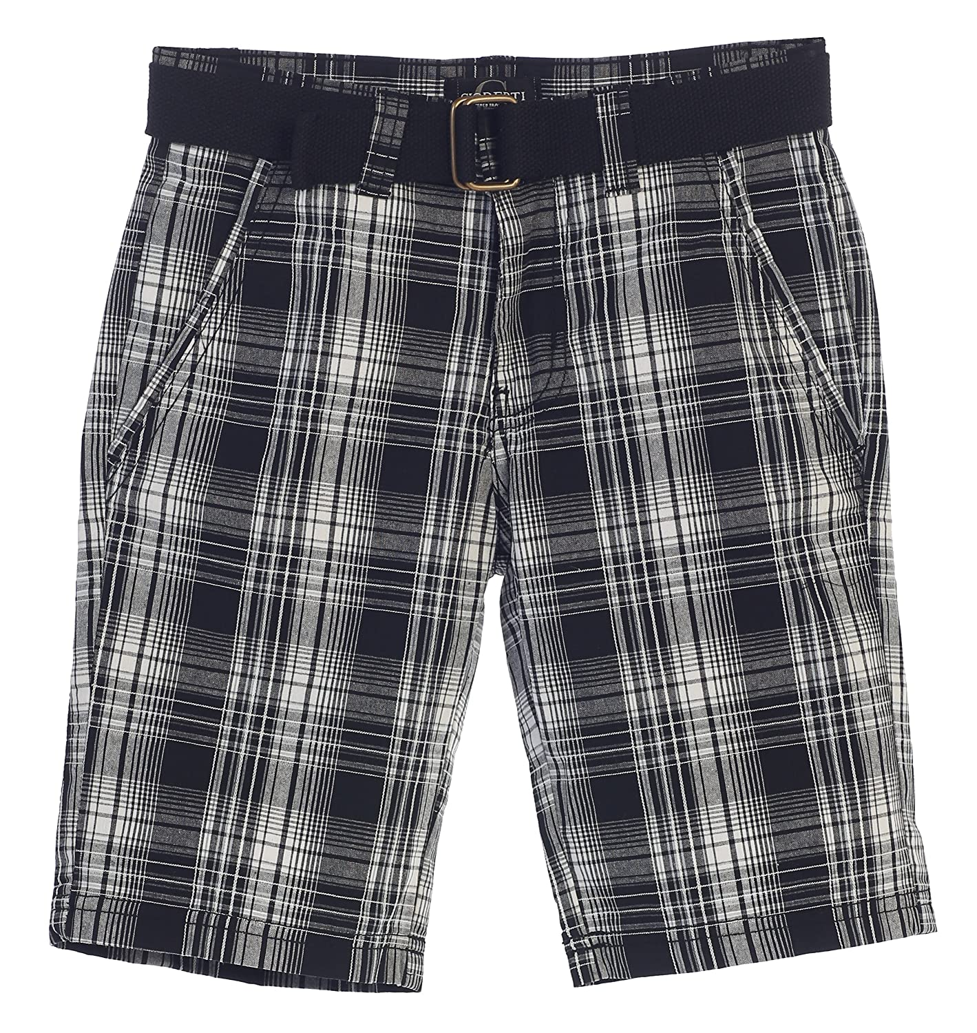 Gioberti Boys Plaid Shorts With Front Button & Zipper and Belt Loop Waistband