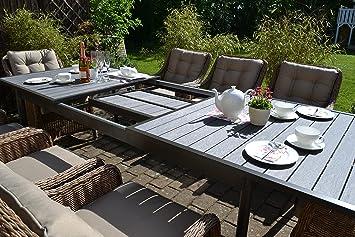 Amazon.de: Gartenmöbel Set Como XL-8 Natur-braun Tisch ausziehbar ...