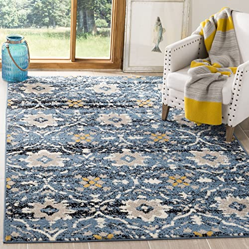 Safavieh Amsterdam Collection Blue and Cr me Area Rug, 6 7 x 9 2
