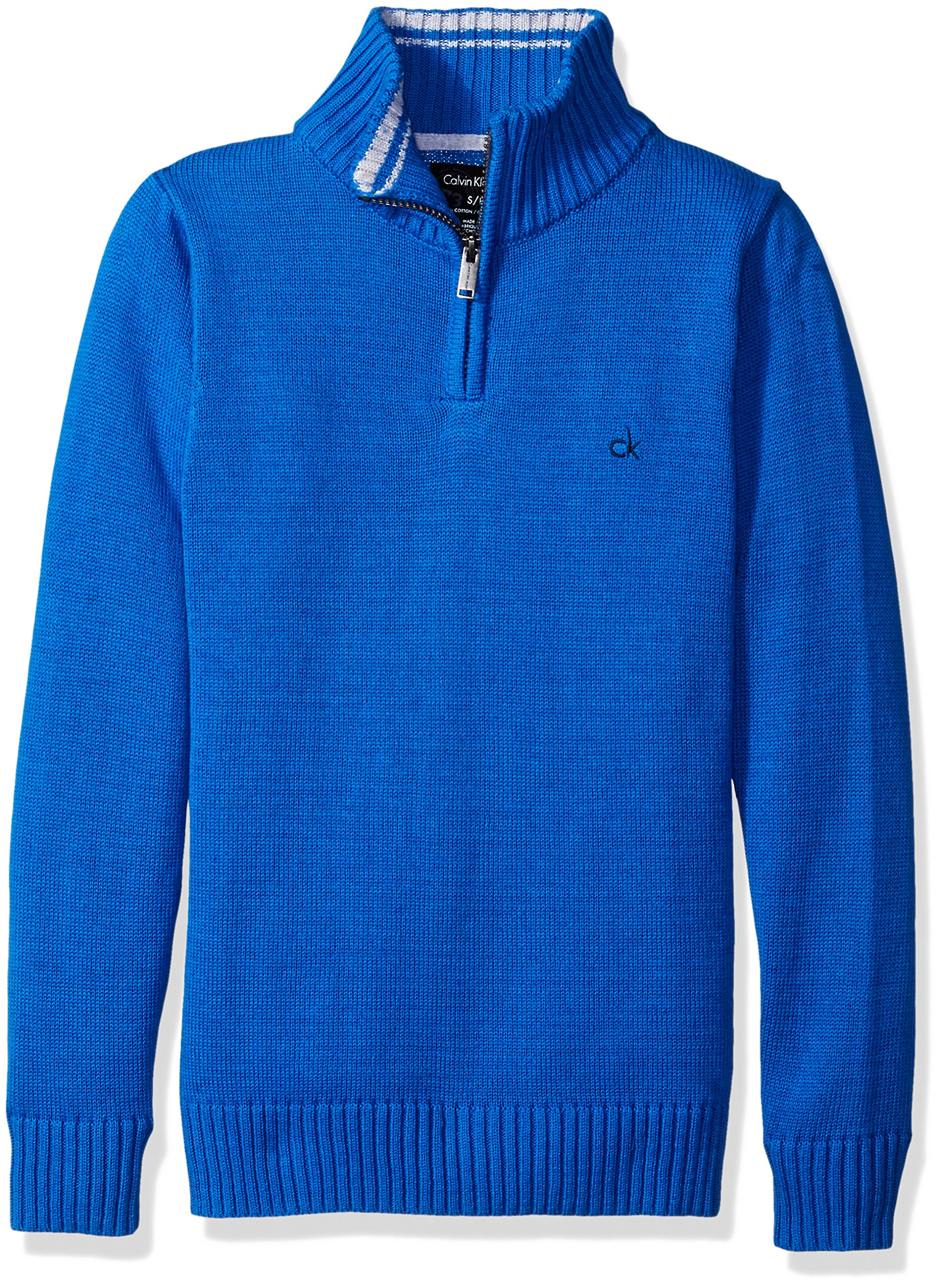 Calvin Klein Little Boys' Scalar Half Zip Sweater, Medium Blue, Medium