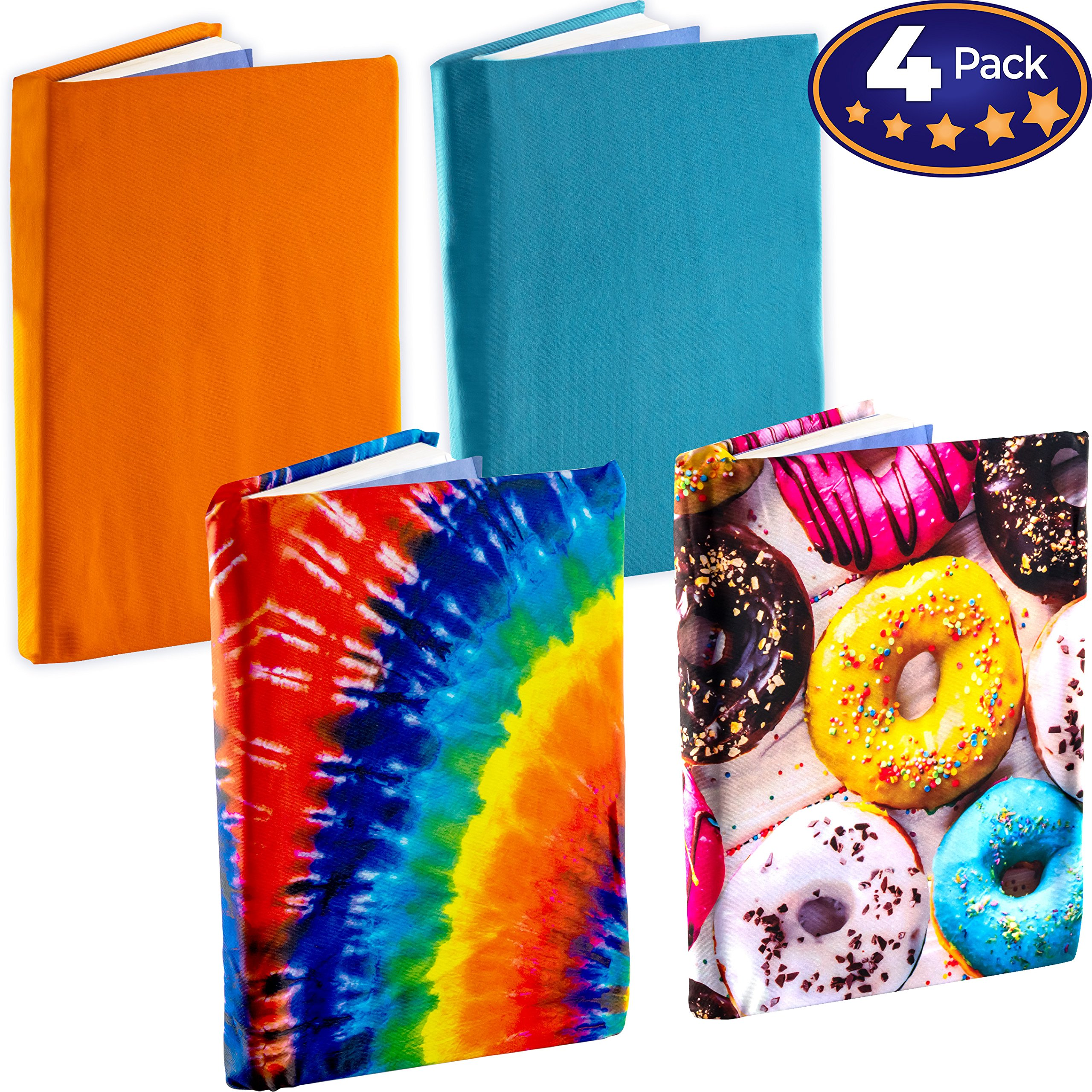 Jumbo, Stretchable Book Cover Color 4 Pack. Fits Most Hardcover Textbooks up to 9 x 11. Adhesive-Free, Nylon Fabric Protectors are A Needed School Supply for Students. (Neutral 1)