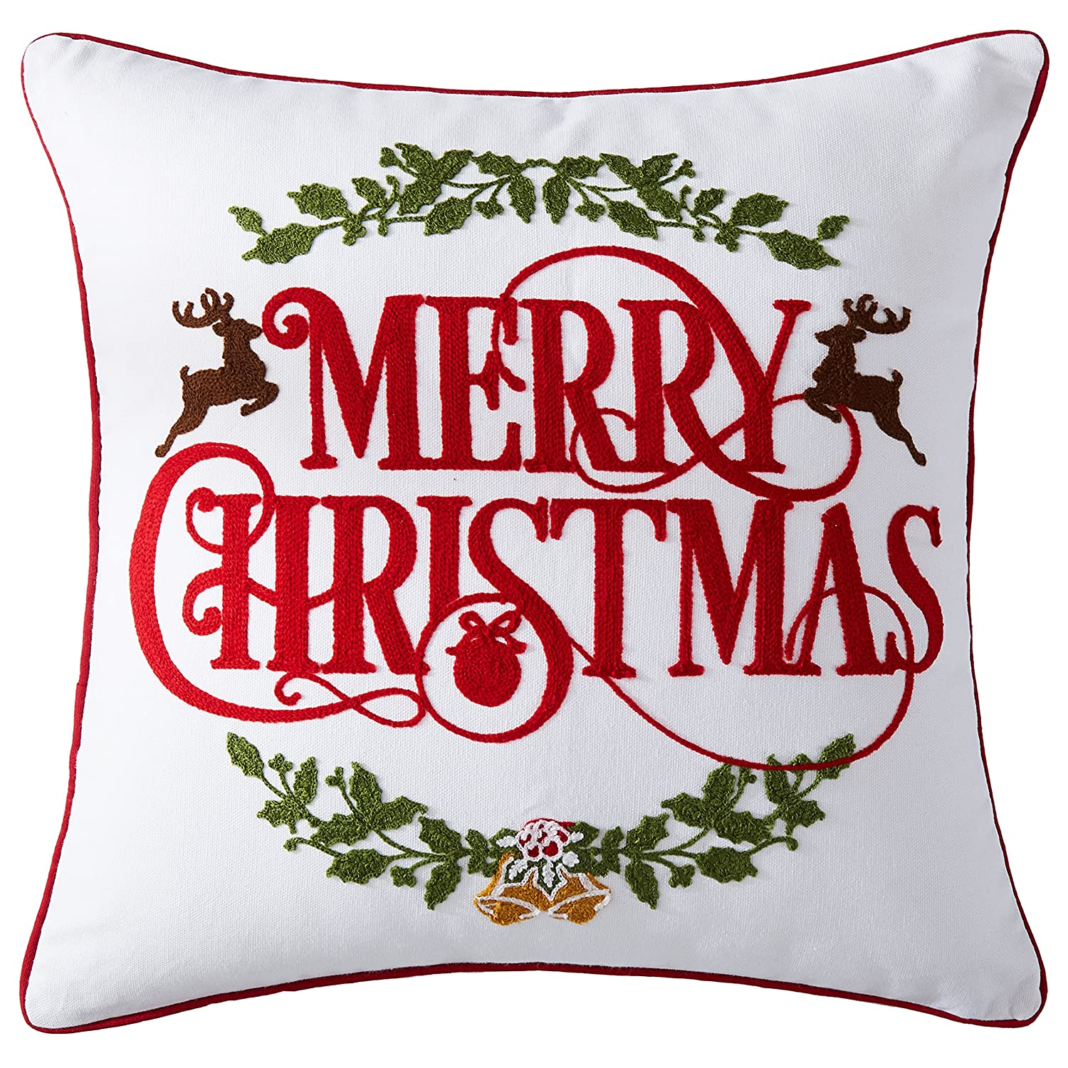 Cassiel Home Merry Christmas Decorations Throw Pillow Cover Christmas Wreath Embroidery Throw Pillow Cases Deco for Indoor Cushion Cover 18x18inch 45x45cm