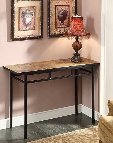 4D Concepts Sofa Table with Slate Top, Metal Slate