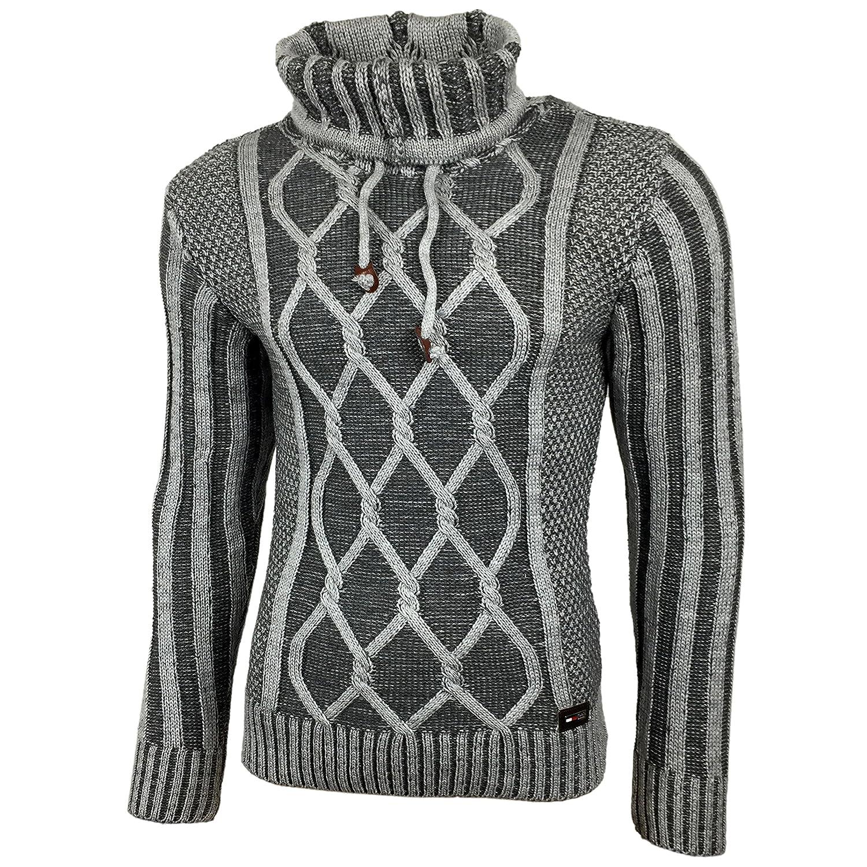KICK Down Uomo Pullover A Maglia Grosso Maglione maglietta maglia giacca SWEAT-GIACCA 16086