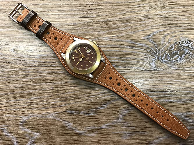 fa177b082 Full bund Strap, Handmade Real Leather cuff strap, Brogue Pattern, Leather  Cuff watch band, Cuff Band, Bespoke style, Vintage brown Leather Cuff watch  Strap ...