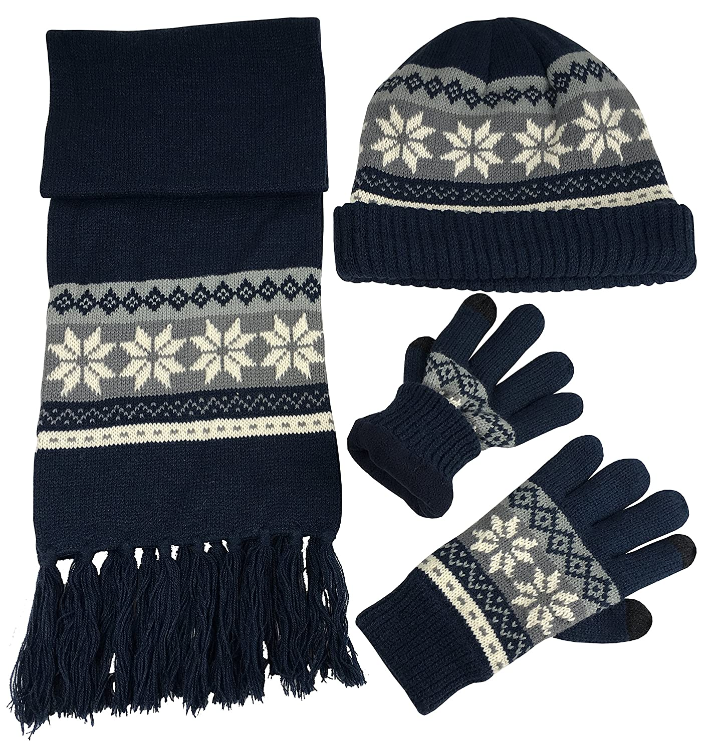 N'Ice Caps Boys Bulky Cable Knit Hat Scarf Gloves 3PC Set Snowflake Design 2223-B