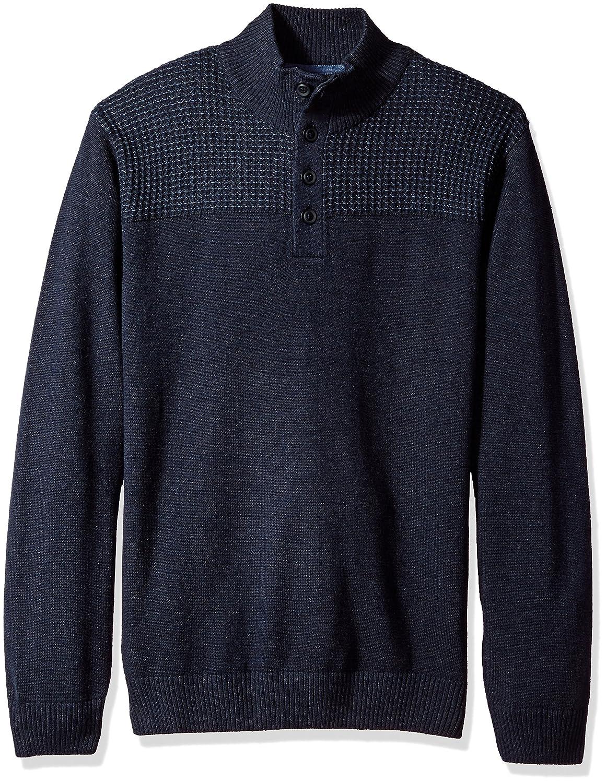 Haggar Men's 1/4 Button Mock Neck Sweater HMF7F319-R11