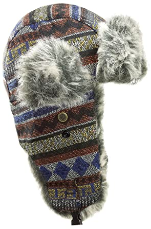 6dba9cd3c68 Dakota Dan Native Pattern Trooper Ear Flap Winter Hat with Faux Fur (Ocean)  at Amazon Women s Clothing store
