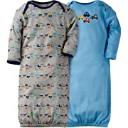 Gerber Baby Boys' 2-Pack Gown, Little Cars, 0-6 Months